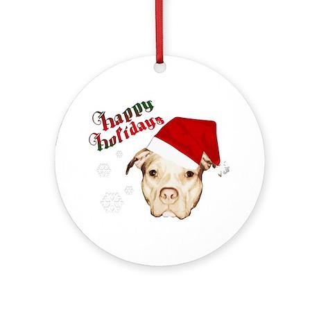 pit bull happy holidays Ornament (Round)