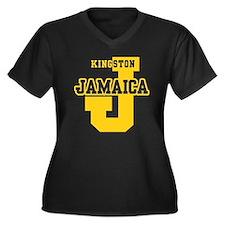 Kingston Jamaica Women's Plus Size V-Neck Dark T-S