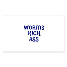 Worms Kick Ass Rectangle Decal