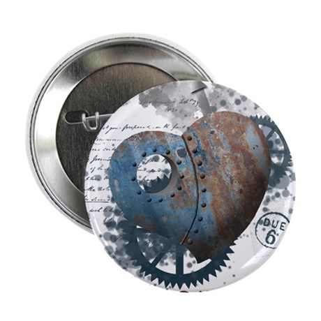 """Steampunk love riveted heart 2.25"""" Button (10 pack"""