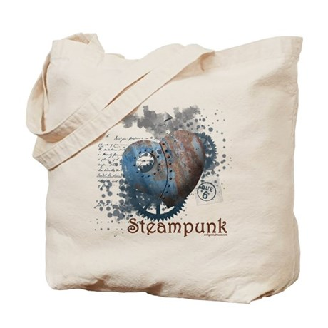 Steampunk love riveted heart Tote Bag