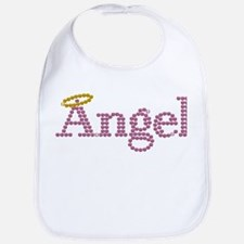 Printed Rhinestone Angel Text Bib