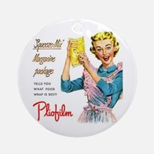 Vintage Plastic Wrap Ad Ornament (Round)