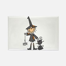 Witch and Cat Rectangle Magnet