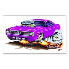 Cuda Purple Car Rectangle Decal