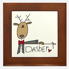 Dasher Reindeer Framed Tile