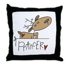 Prancer Reindeer Throw Pillow