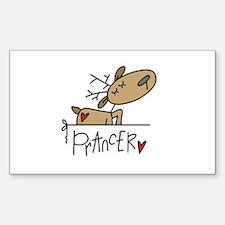 Prancer Reindeer Rectangle Decal