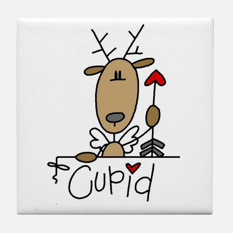 Cupid Reindeer Tile Coaster