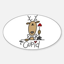 Cupid Reindeer Oval Decal