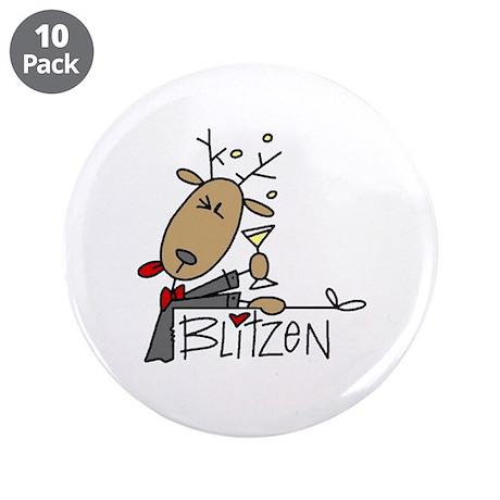 """Blitzen Reindeer 3.5"""" Button (10 pack)"""