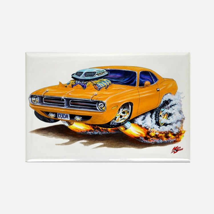 Cuda Orange Car Rectangle Magnet