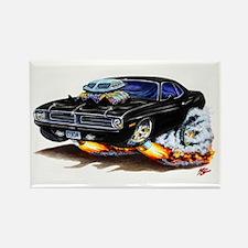 Cuda Black Car Rectangle Magnet