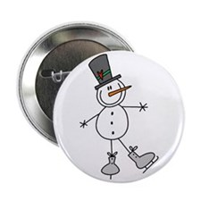 """Ice Skating Snowman 2.25"""" Button"""