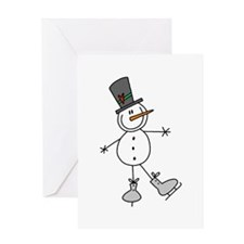 Ice Skating Snowman Greeting Card