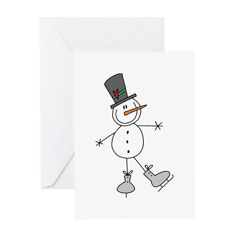 Ice Skating Snowman Greeting Card