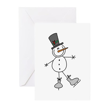 Ice Skating Snowman Greeting Cards (Pk of 10)