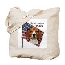 Cute Beagle american flag Tote Bag