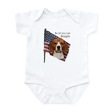 Cute Beagle american flag Infant Bodysuit