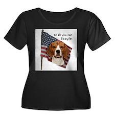 Cute Beagle american flag T