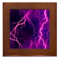 Pink Lightning Look Framed Tile