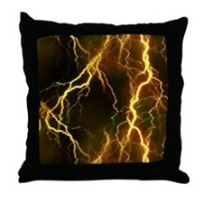 Gold Lightning Look Throw Pillow