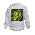 Yellow Flowers On Green Leaves Kids Sweatshirt