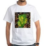 Yellow Flowers On Green Leaves White T-Shirt