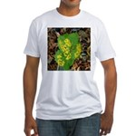 Yellow Flowers On Green Leaves Fitted T-Shirt