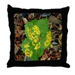 Yellow Flowers On Green Leaves Throw Pillow