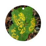 Yellow Flowers On Green Leaves Ornament (Round)
