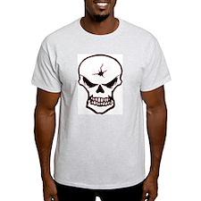 Red Outlined Bullethole Ash Grey T-Shirt