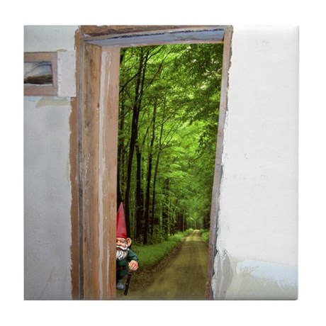 Gnome Doorway Tile Coaster
