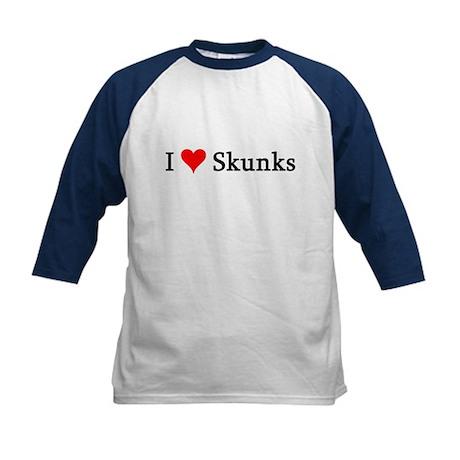 I Love Skunks Kids Baseball Jersey