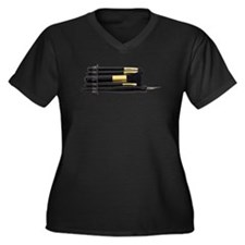 Unique Calligraphy Women's Plus Size V-Neck Dark T-Shirt