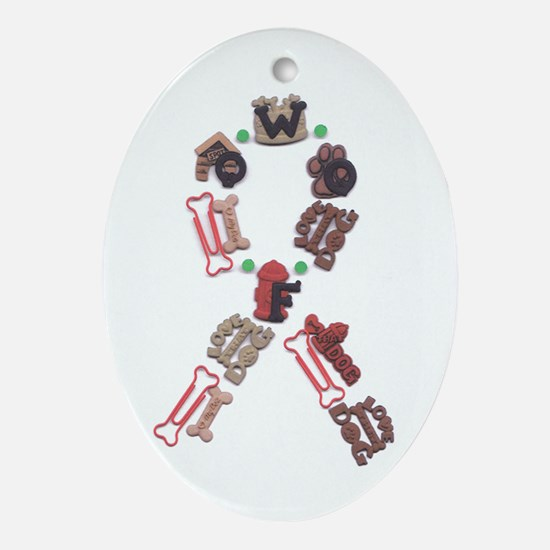 Woof Ribbon Oval Ornament