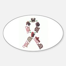 Woof Ribbon Oval Stickers