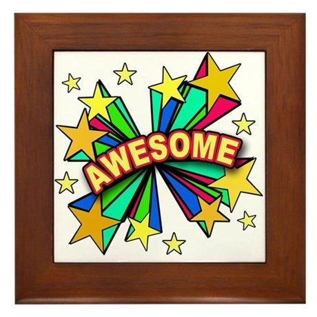 Comic Book Pop Art Awesome Framed Tile
