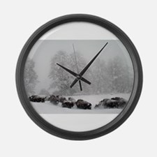 Winter Buffalo Run Large Wall Clock