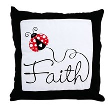 Ladybug Faith Throw Pillow