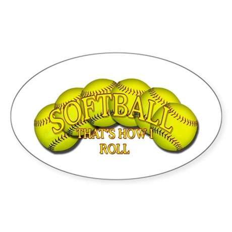 Softballs roll Oval Sticker