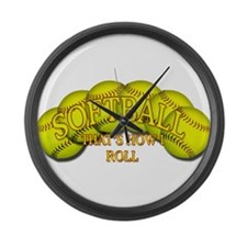 Softballs roll Large Wall Clock