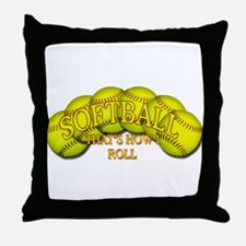 Softballs roll Throw Pillow