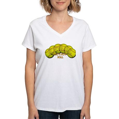Softballs roll Women's V-Neck T-Shirt