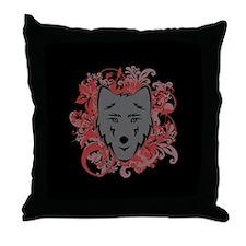 Jacob Wolf Flourish Throw Pillow