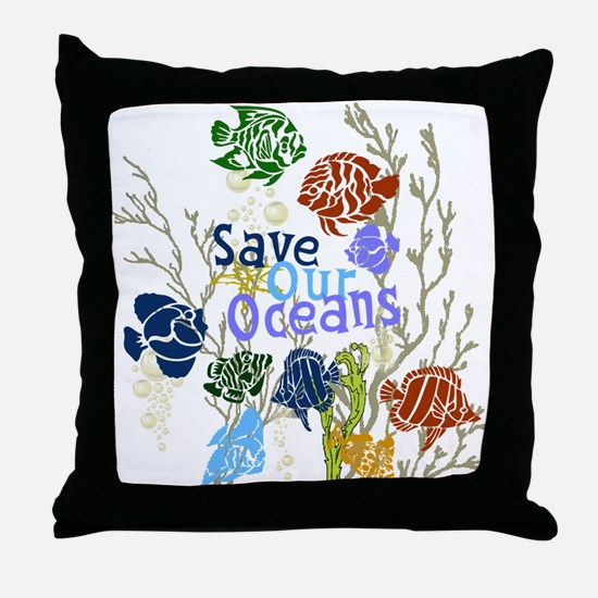Save the Oceans Throw Pillow