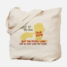 Lion left stupid lamb Tote Bag