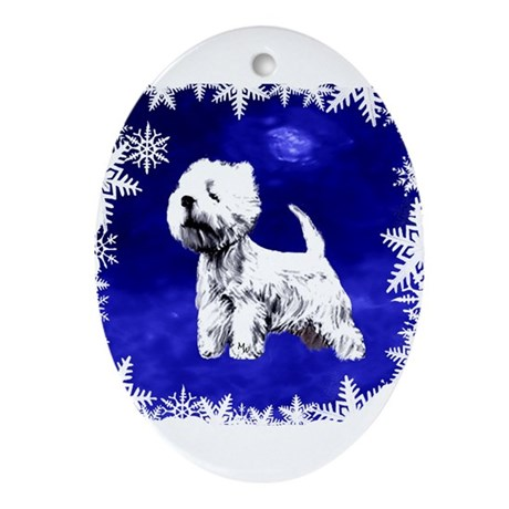 west highland terrier, westie Oval Ornament