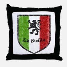 La Sicilia Vintage Flag Throw Pillow