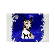 basenji holiday design Rectangle Magnet